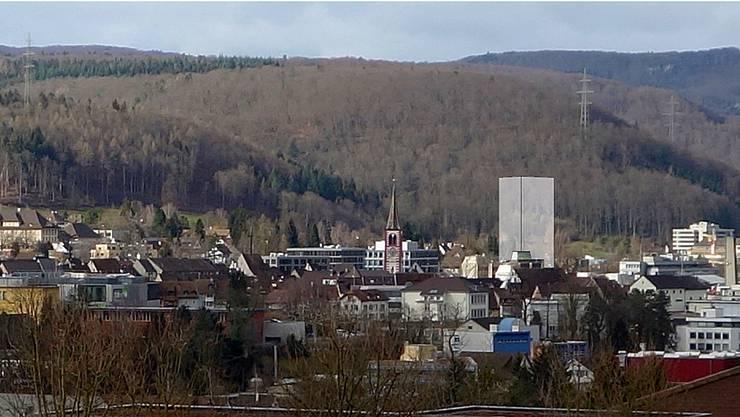 Das SBB-Hochhaus würde Liestal dominieren, wie diese Visualisierung aus Sicht Arisdörferstrasse zeigt.