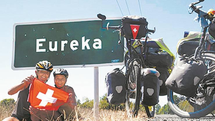 Ziel erreicht: Klemens Huber und Brigitte Batt bei ihrer Ankunft im neuseeländischen Eureka.