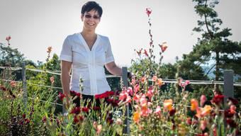 Blumen statt Tabakkraut: Nikotinberaterin Susann Koalick auf der Terrasse der Klinik Barmelweid ob Erlinsbach