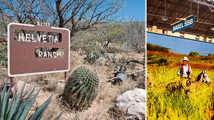 Die Helvetia-Ranch liegt in Arizona, wo der Schweizer Ben Hefti vor 100 Jahren eine Kupfermine betrieb. Der Marlboro Man (rechts) ist mittlerweile aus dem Basler Bahnhof verbannt worden.