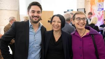 Sind nicht immer einer Meinung: SP-Co-Präsidenten Cédric Wermuth und Elisabeth Burgener (l.&r.), sowie Nationalrätin Yvonne Feri (m.)