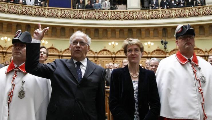 Am 22. September 2010 wird Johann Schneider-Ammann als Bundesrat vereidigt – gemeinsam mit Simonetta Sommaruga (SP).