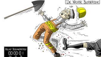 Wieder wurde in letzter Minute Einsprache eingereicht: So beschreibt Karikaturist Silvan Wegmann die Situation.