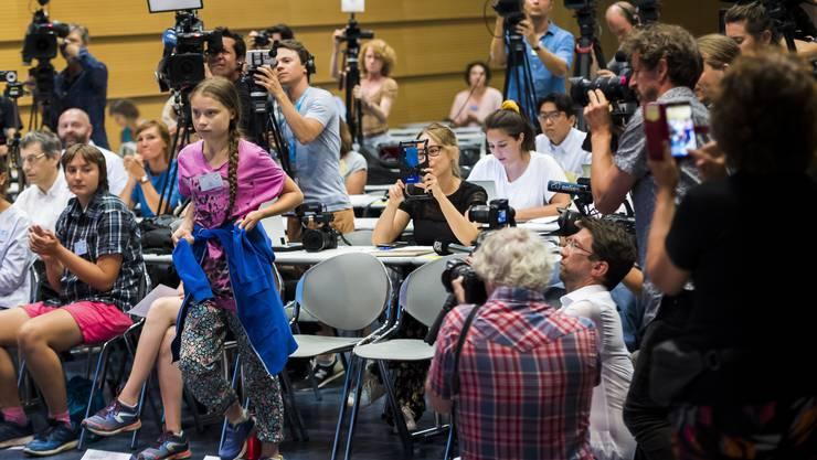 Wegen ihr sind die Medien da: Greta Thunberg an der Medienkonferenz zum Start des Klima-Gipfels in Lausanne.