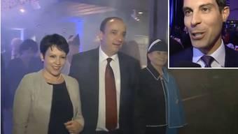 Désirée und Markus Dieth an der Wahlfeier - rechts Thierry Burkart, der für eine brodelnde Gerüchteküche sorgte.