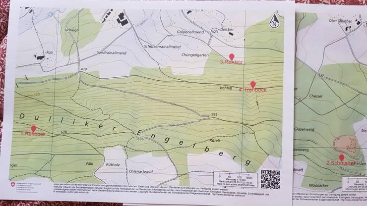 Auf der Karte hat Jagdaufseher Viktor Müller die Fundstellen der toten Rehe rot markiert.