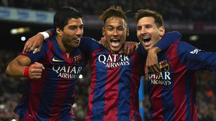 Trio infernale: Luis Suarez, Neymar und Lionel Messi (v.l.) erzielten in dieser Saison sagenhafte 120 Treffer.