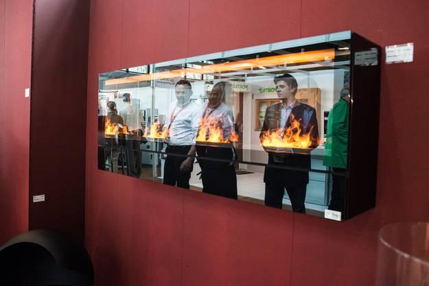 An diesem Stand können Besucher mehr über Ethanol-Feuerstellen erfahren