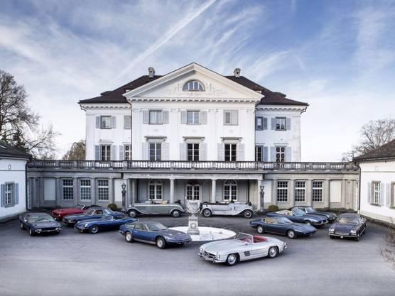 Die zwölf Oldtimer vor dem Schloss Eugensberg gehören zur Konkursmasse Rolf Erb - die Fahrzeuge werden am 21. Mai in Belgien versteigert.