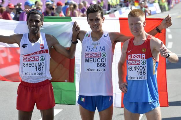 Die Medaillengewinner: Yared Shegumo (2./Polen),  Daniele Meucci (1./Italien) und Aleksey Reunkov (Russland/3.).