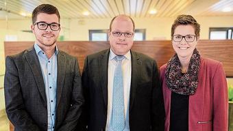 Von links: David Perez, Alexander Bigler und Nadine Meister.