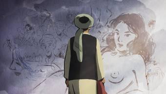 Atiq betrachtet die Wandzeichnungen von Zunaira, im Vordergrund ein Akt von ihr selber.