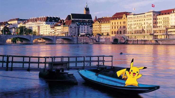Da freut sich Pikachu: Er sitzt mitten in Basel auf einem Weidling – rein virtuell natürlich.