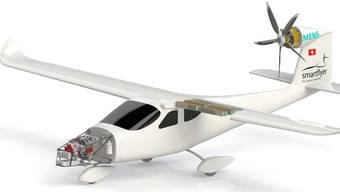 An der Modellzeichnung ist der Antriebsstrang zu erkennen: Vorne im Bug der Generator, die Batteriepakete im Flügel und der Elektromotor am Seitensteuer.