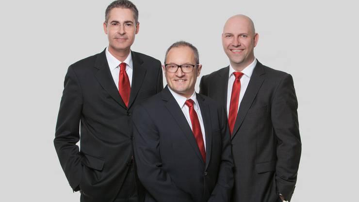 Die neue Bankleitung (v.l.): Michael Strub, Peter Bircher, André Schaad.