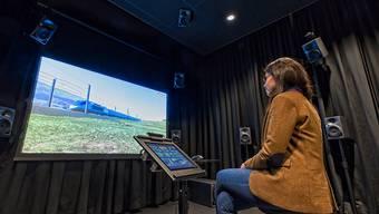Mit dem von Empa-Forschern in Dübendorf ZH entwickelten Simulator lässt sich der Lärm eines vorbeifahrenden Zuges im Labor erzeugen und in über 100 einzelne Lärmbestandteile zerlegen.