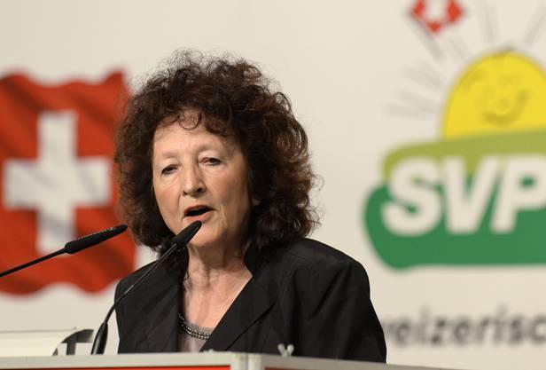 Die Nationalrätin hält zahlreiche Reden. Hier 2014 an der Delegiertenversammlung der SVP.