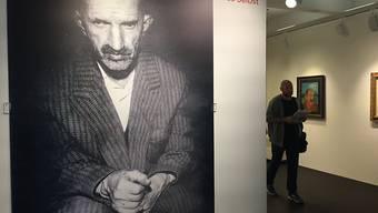 """Ein Porträt von Antonio Ligabue aus dem Jahr 1961 in der Ausstellung über den """"Schweizer Van Gogh"""" im Museum im Lagerhaus in St. Gallen. Der Art-Brut-Künstler hat bis zu seinem Tod 1965 rund 170 Selbstbildnisse gemalt."""