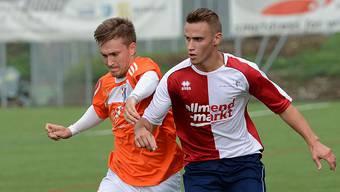 Lukas Burkhardt vom FC Gelterkinden (rechts), hier im Duell mit Pajtim Ademaj, war der Mann des Spiels. Juri Junkov