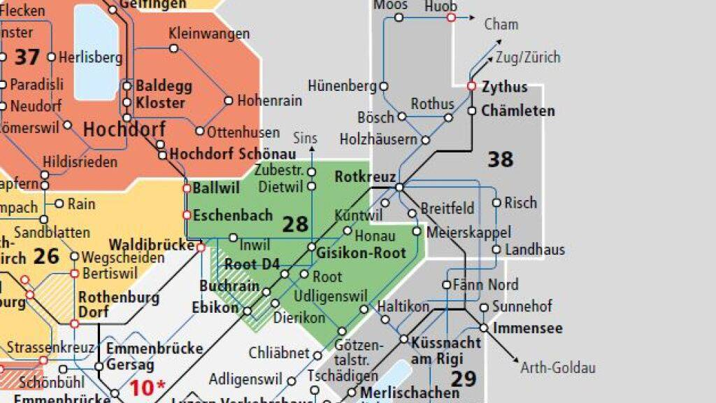 Rotkreuz, Risch und Hünenberg im Kanton Zug in der neuen Passepartout-Zone 38.