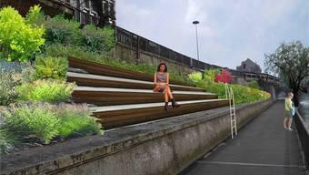 Eine Treppe oberhalb des Ländiwegs, wie hier auf der Fotomontage, ist ein Vorschlag der Grundlagenstudie Aareraum Olten, um die Verbindung provisorisch aufzuwerten. ZVG/Grundlagenstudie Aareraum Olten/Werk1 Architekten und Planer AG
