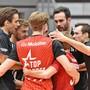 Die Schönenwerder um Topskorer Luca Ulrich, Captain Samuel Ehrat (l.) und Passeur Scott Fifer (r.) gewannen in der Qualifikation 15 von 19 Spielen.
