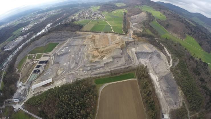Das aktuelle Abbaugebiet beim Steinbruch Jakobsberg-Egg