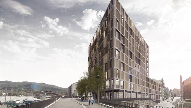 So könnte das Wohn- und Geschäftshaus Turuvani an der Tannwaldstrasse dereinst aussehen. Visualisierungen: zvg