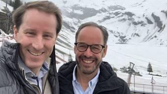 SVP-Fraktionschef Thomas Aeschi (l.) und Titlis-CEO Norbert Patt trafen sich zur Aussprache.