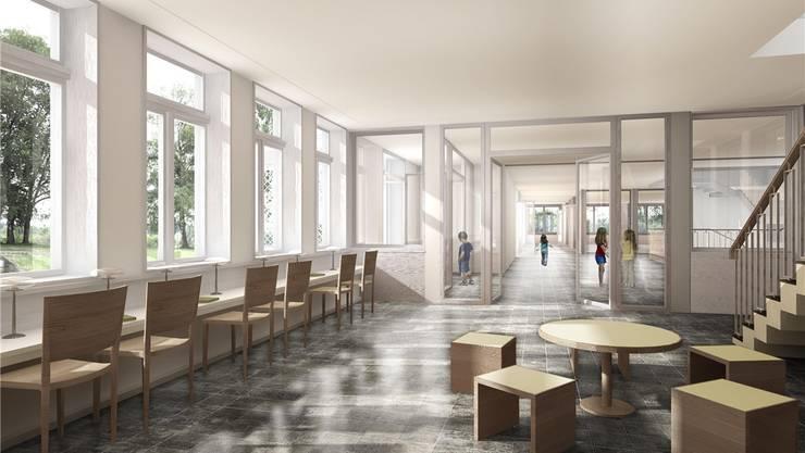 Visualisierungen des geplanten Schulhauses – innen und aussen.zvg