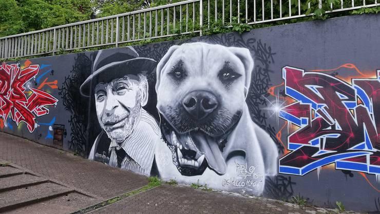 Mann mit Hut und Hund in einer Unterführung in Bad Säckingen.