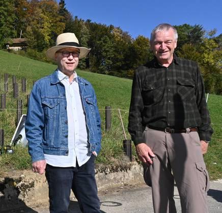 Christoph Rast (links) und Meinrad Studer (rechts) bemühen sich als Mitglieder des Vereins Festungswerke Solothurner Jura um den Erhalt der Festungsbauwerke aus dem Zweiten Weltkrieg.