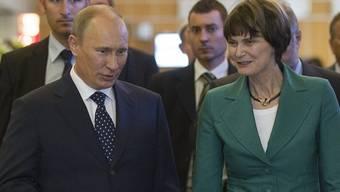 Putin und Calmy-Rey beim Treffen in Genf
