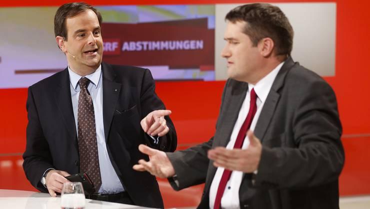 CVP-Chef Gerhard Pfister und SP-Präsident Christian Levrat (r.) üben massive Kritik an der Schweizerischen Radio- und Fernsehgesellschaft.