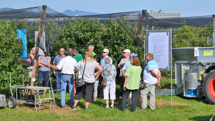 Viele Gäste informierten sich auf dem Loorhof in Lupfig darüber, welche Arbeit hinter der Apfelproduktion steckt und auch welche Schwierigkeiten damit verbunden sind.Diese Gäste lassen sich über die Apfelproduktion informieren.