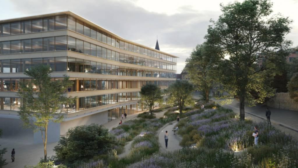 Visualisierung des geplanten neuen «Campus Platztor» der Universität St.Gallen (HSG). Der Entwurf stammt vom Architekten Pascal Flammer aus Zürich.