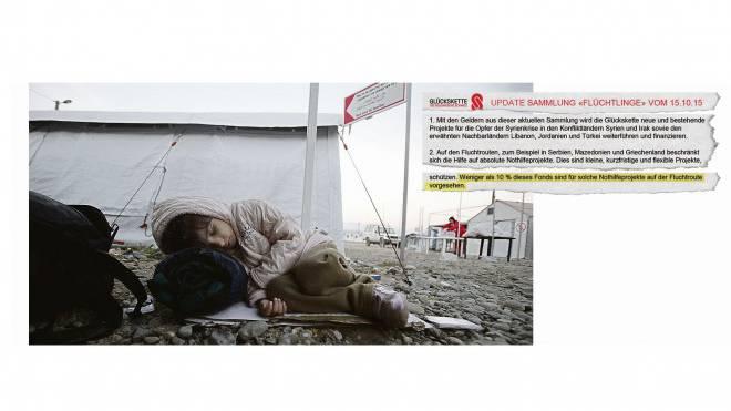 Ein syrisches Flüchtlingskind ist in Mazedonien gestrandet (links). Trotz grosser Not will die Glückskette auf dem Balkan nur einen kleinen Teil der Mittel einsetzen (Ausriss oben). Foto: Keystone