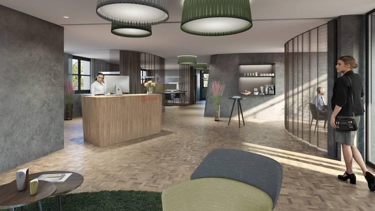 Die Visualisierung zeigt, wie der Innenbereich der Raiffeisenbank in Leuggern nach dem Umbau aussieht: Vorgesehen ist ein Umbau zu einer Beraterbank, der Schalter fällt weg.