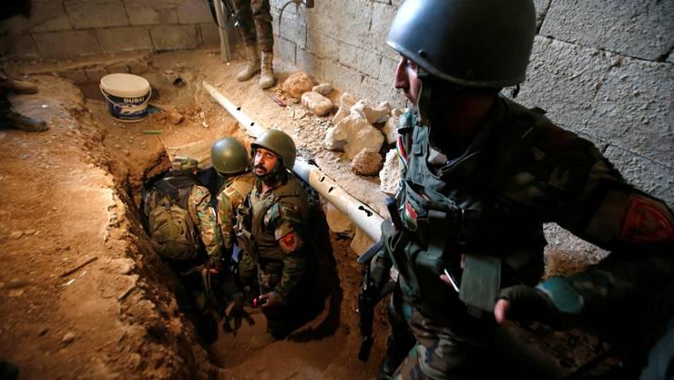 Der IS baut in den von ihm eroberten Ortschaften Tunnelanlagen. In dem    Labyrinth in der Ortschaft Baschika lebten bis zu 200 Terroristen,