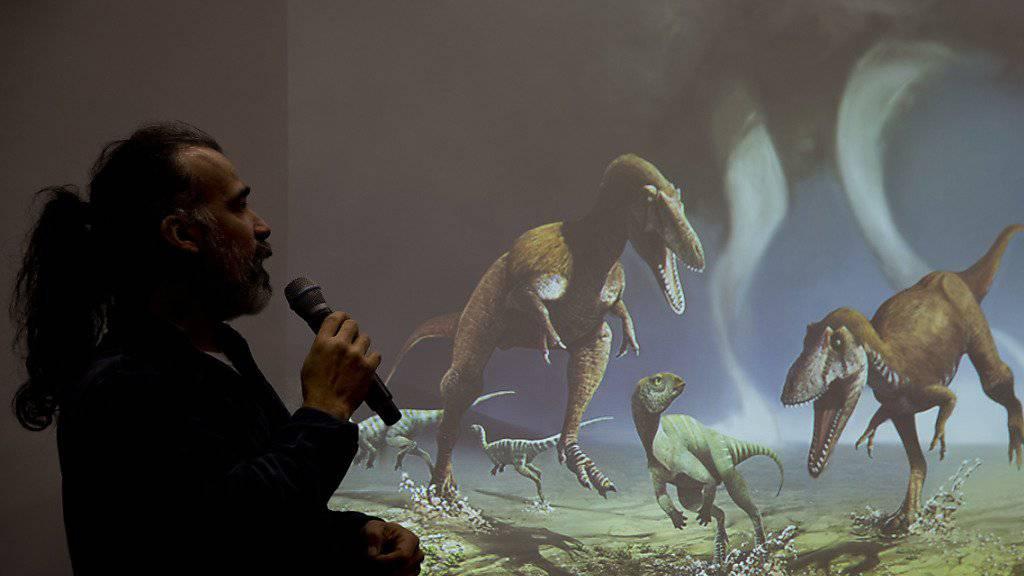 Paläontologe Sebastian Apesteguia zeigt, wie der neu entdeckte fleischfressende Dinosaurier «Gualicho» möglicherweise ausgesehen hat.
