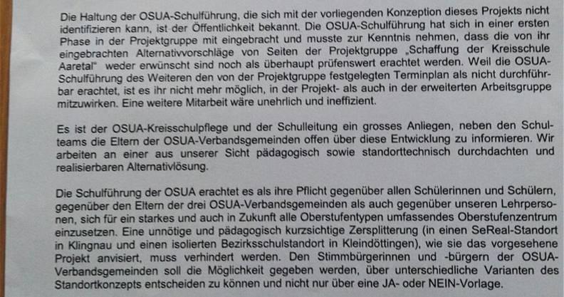 Auszug aus dem Brief der OSUA an die Eltern der Schüler.