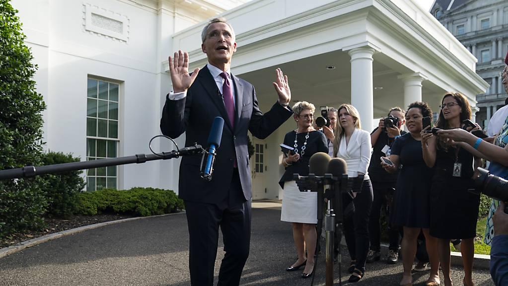 Jens Stoltenberg, Nato-Generalsekretär, spricht zu Reportern nach einem Treffen mit US-Präsident Biden im Weissen Haus.