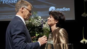 Peter Wanner und Bundesrätin Doris Leuthard