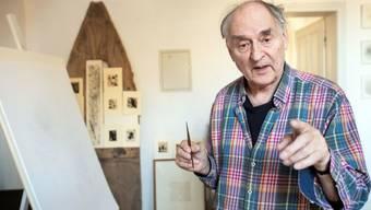 """Harald Naegeli, bekannt als """"Sprayer von Zürich"""", hier ins einem Atelier in Düsseldorf, feiert am 4. Dezember 2019 den 80. Geburtstag. (Archiv)"""