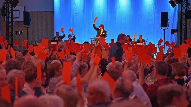 Zur Generalversammlung in der Erlinsbacher Bläuen-Halle erschienen rund 650 Personen, davon 602 Stimmberechtigte.