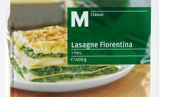 Abpackfehler bei der Migros: In der M-Classic Lasagne Fiorentina ist Lachs enthalten.