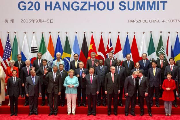 Gruppenbild am G20-Gipfel im chinesischen Hangzhou.