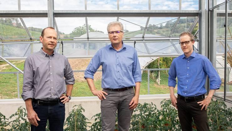 Lucius Tamm, Knut Schmidtke und Marc Schärer (v.l.) leiten in einem Dreier-Gremium seit 1. April das FiBL in Frick.