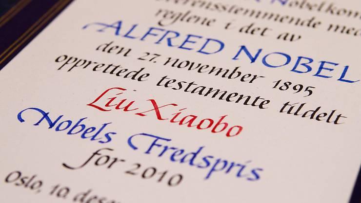 Diese Urkunde - der Friedensnobelpreis an Liu Xiaobo - war Auslöser für jahrelange Verstimmung zwischen Norwegen und China.