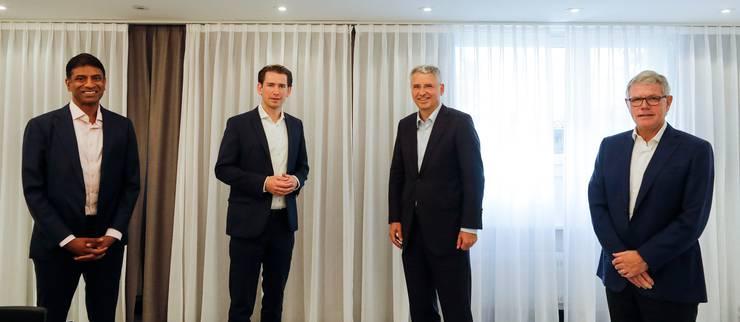 Kanzler Sebastian Kurz trifft Schweizer Pharmachefs (v.l.): Novartis-CEO Vasant Narasimhan, Roche-CEO Severin Schwan und Lonza-CEO Albert M. Baehny.